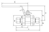 V83 Series Swing-Out Ball Valves-Dimensional-Drawing